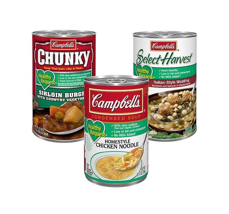 Campbell's heart-healthy soups, now with less salt
