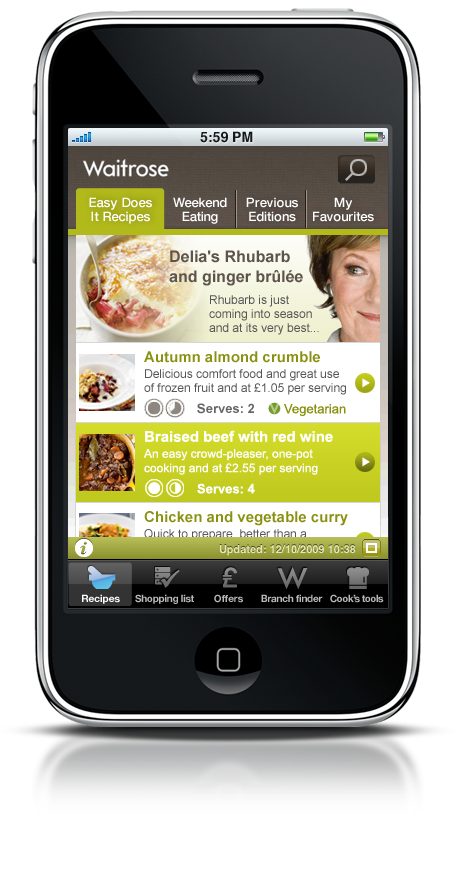Waitrose launches iPhone app and mobile website