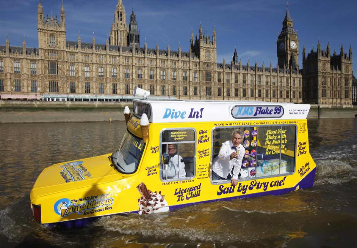 Floating ice cream van sets sail on the Thames