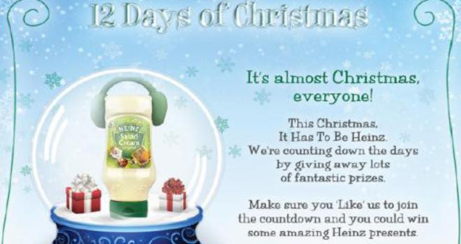 Heinz launches '12 Days of Christmas' Facebook app