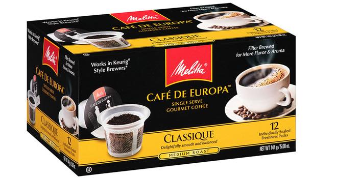 melitta cafe de europa gourmet single cup coffee foodbev media. Black Bedroom Furniture Sets. Home Design Ideas