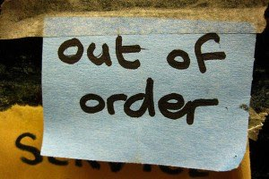 'Out of order' sign. Photo by Geoff R, Flickr Creative Commons.