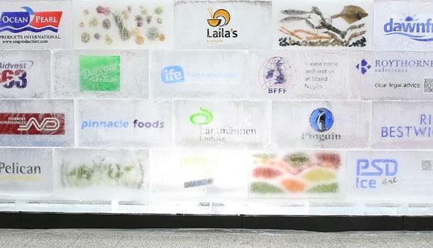 Frozen food federation builds huge ice wall to highlight food waste problem