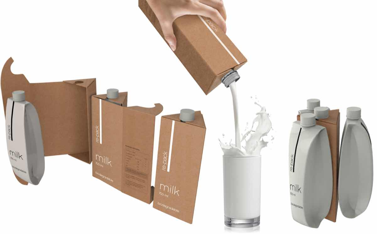 Inventor creates more easily recyclable 'bag-in-jug' milk carton