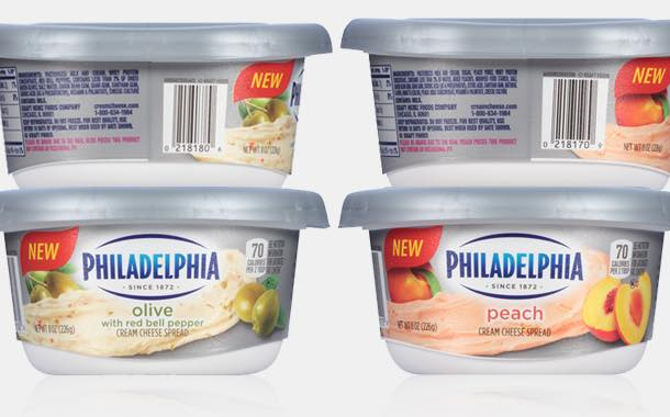 Philadelphia cream cheese adds peach and olive flavour spreads