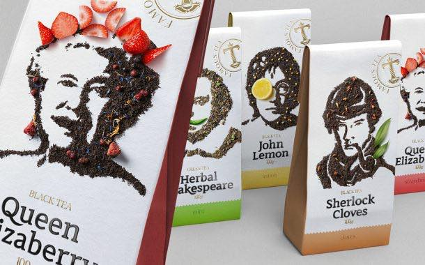Russian brand recreates famous faces in tea for new pack design