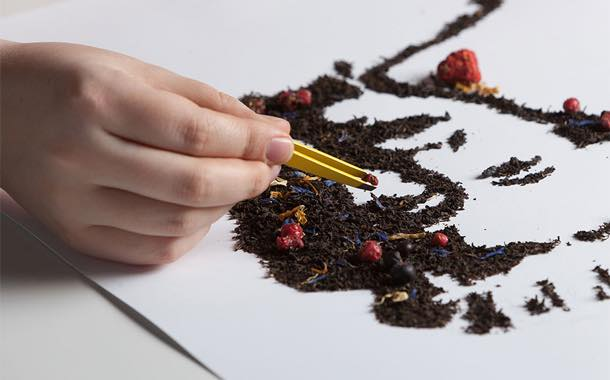 The designs were created meticulously by hand using tea leaves and fruit, berries or leaves.