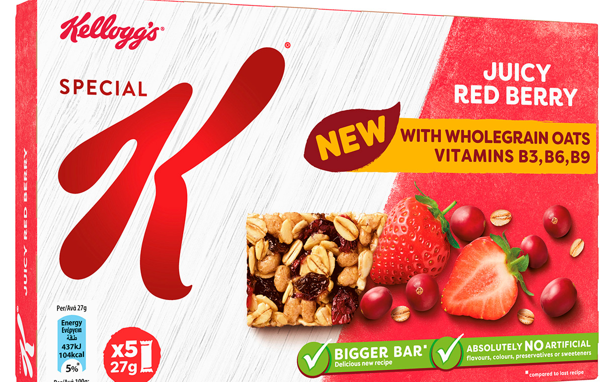 Kellogg's overhauls its Special K cereal bar line with bigger packs