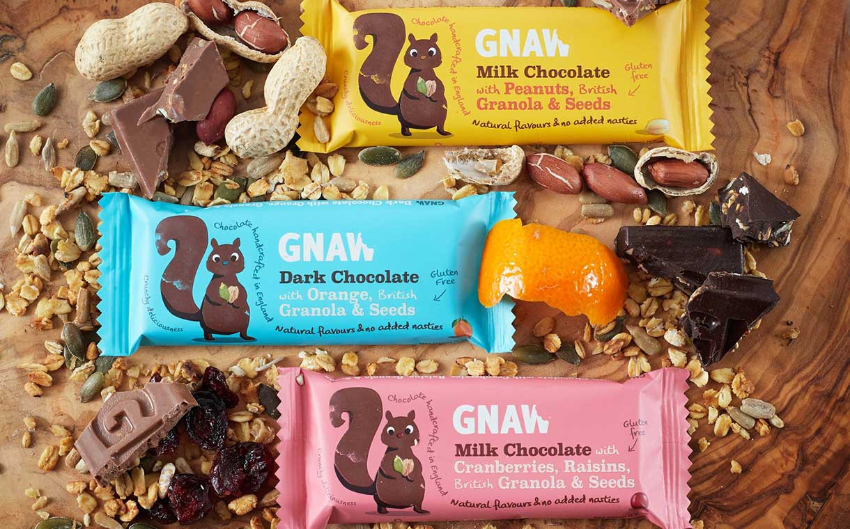 Gnaw introduces chocolate and granola bars with fruit and seeds