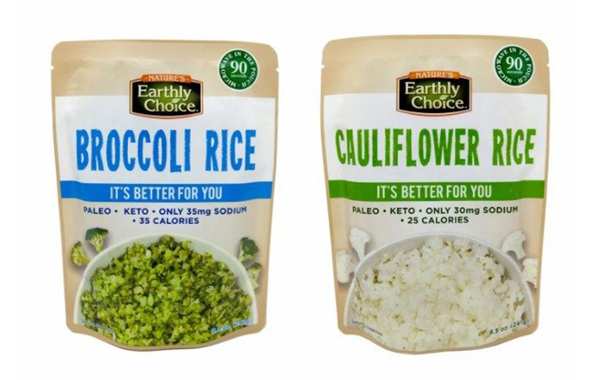 Broccoli Rice and Cauliflower Rice in microwavable pouches