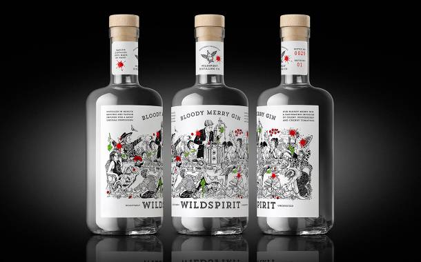 Wildspirit launches Bloody Merry Gin with design by Denomination