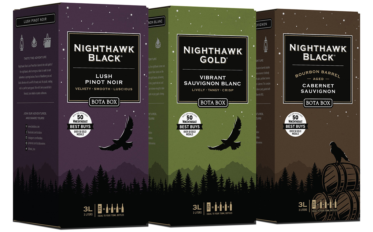 New wines launched under Bota Box's bag-in-box Nighthawk line