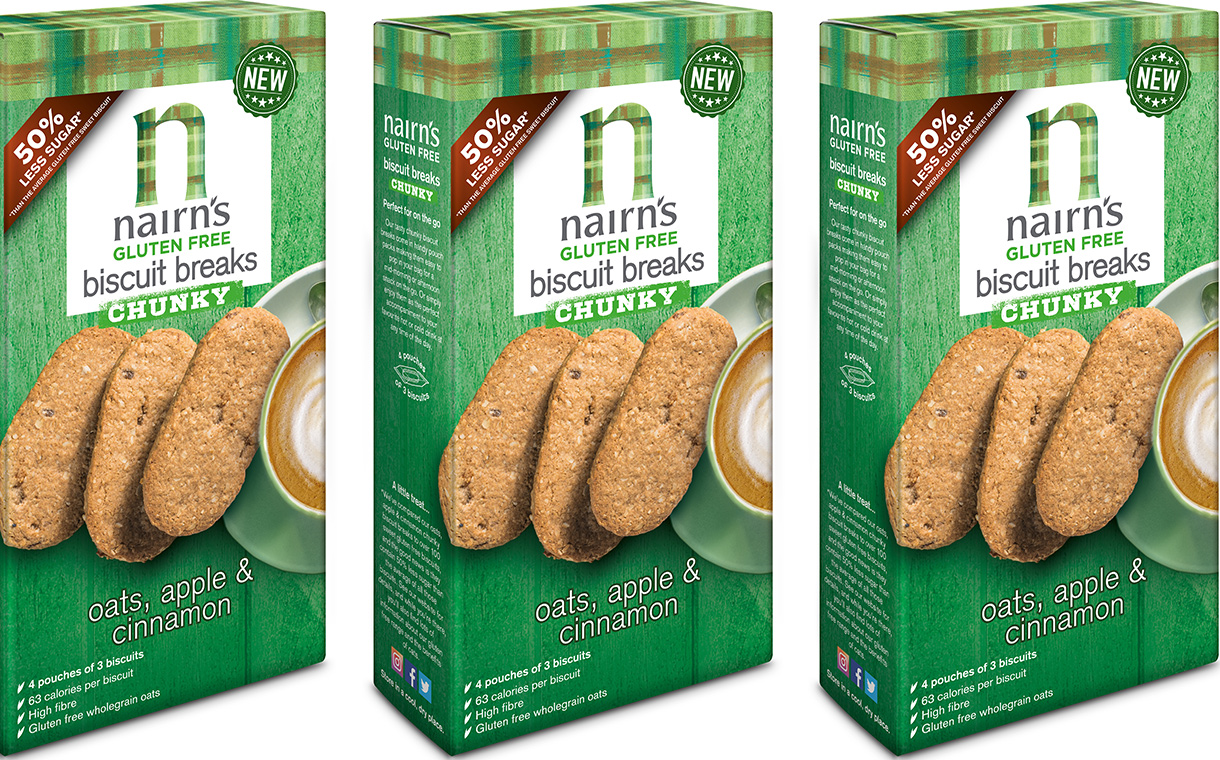 Nairn's debuts gluten-free oat, apple and cinnamon biscuits