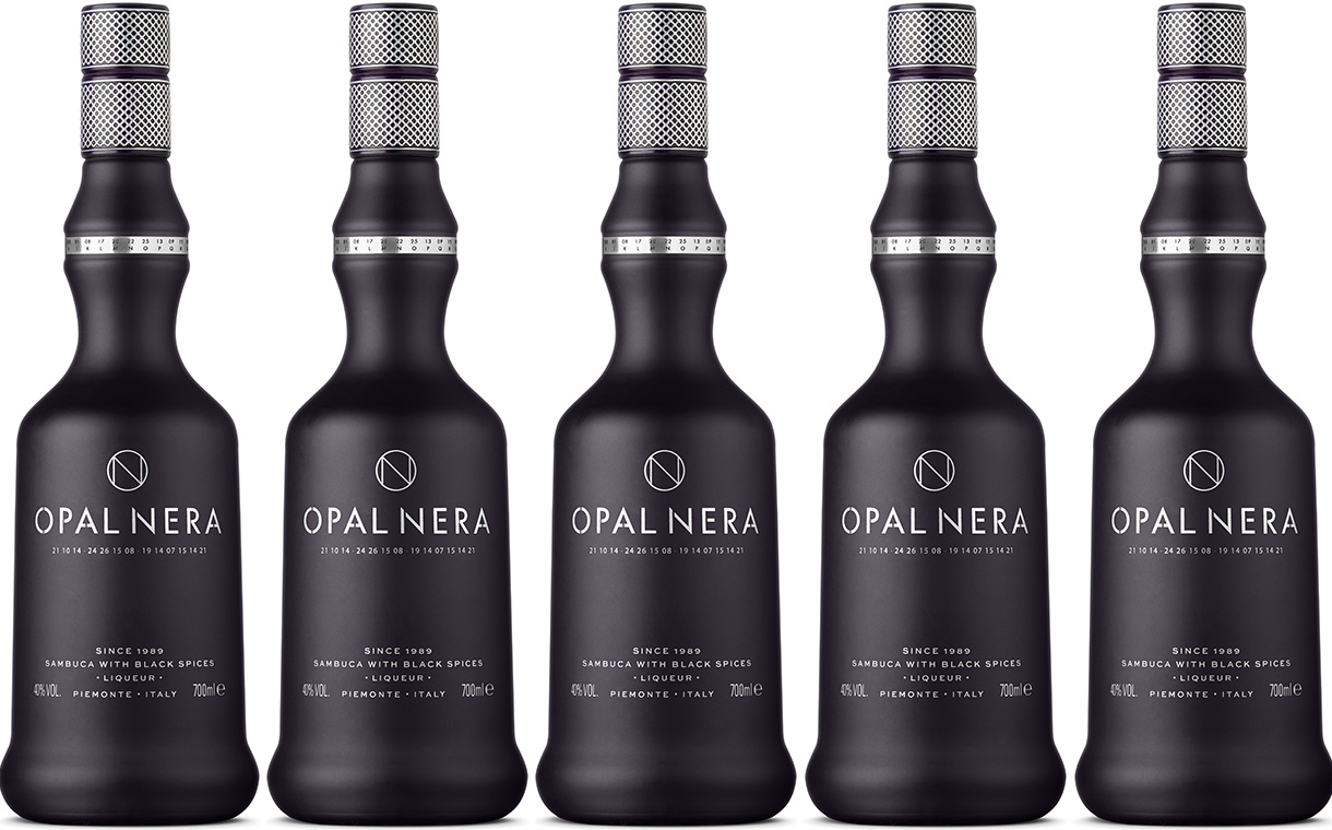 Opal Nera liqueur relaunches with design by Denomination