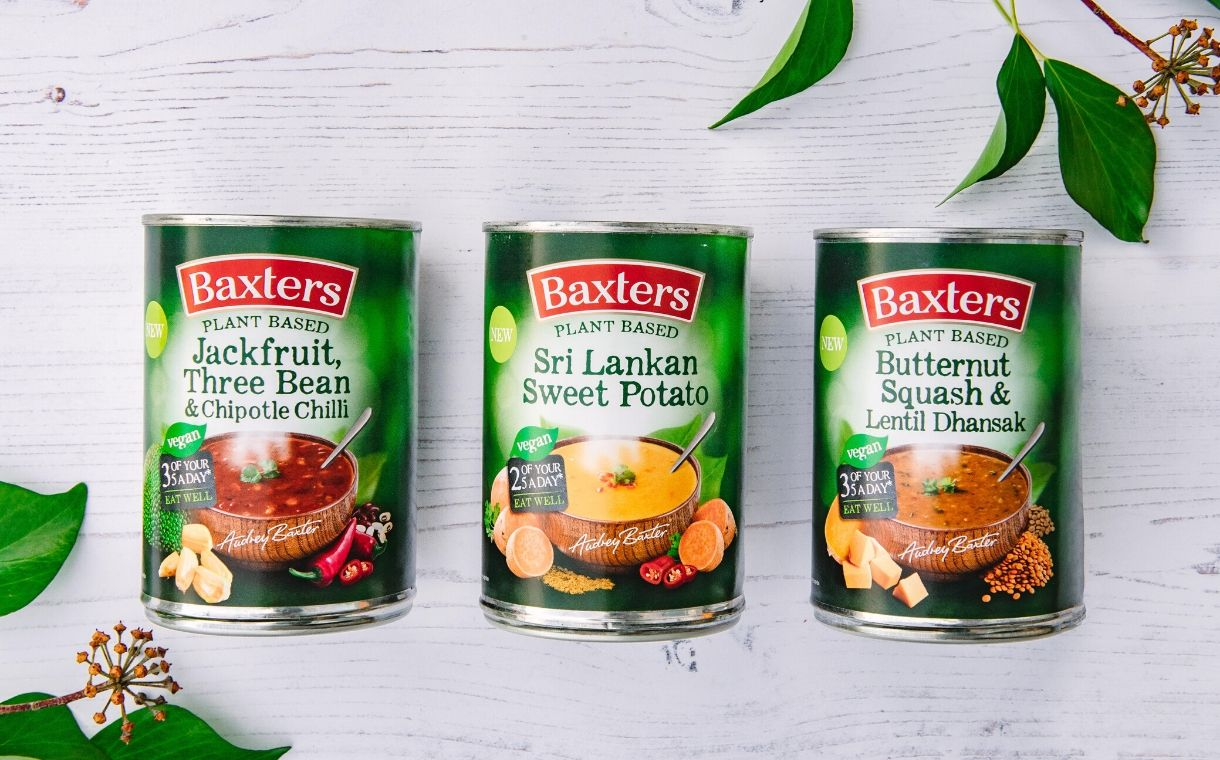 Baxters debuts range of tinned plant-based soups
