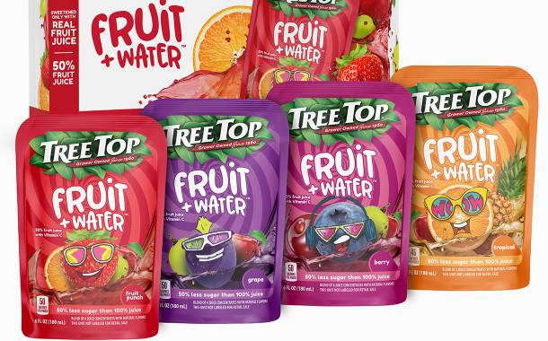 Tree Top debuts 'low-sugar' Fruit+Water pouches for kids